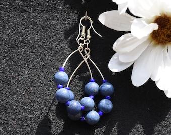 Blue Lapis Silver Earrings, Handmade