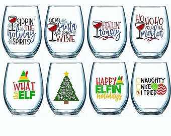 set of 4 christmas wine glasses christmas wine glasses christmas drinkware christmas barware funny christmas wine glasses