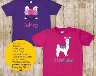 Personalised Birthday Gift for Toddlers and Babies Personalised Llama T-shirt For Kids Easter Gift For Children Name Animal Design Tee