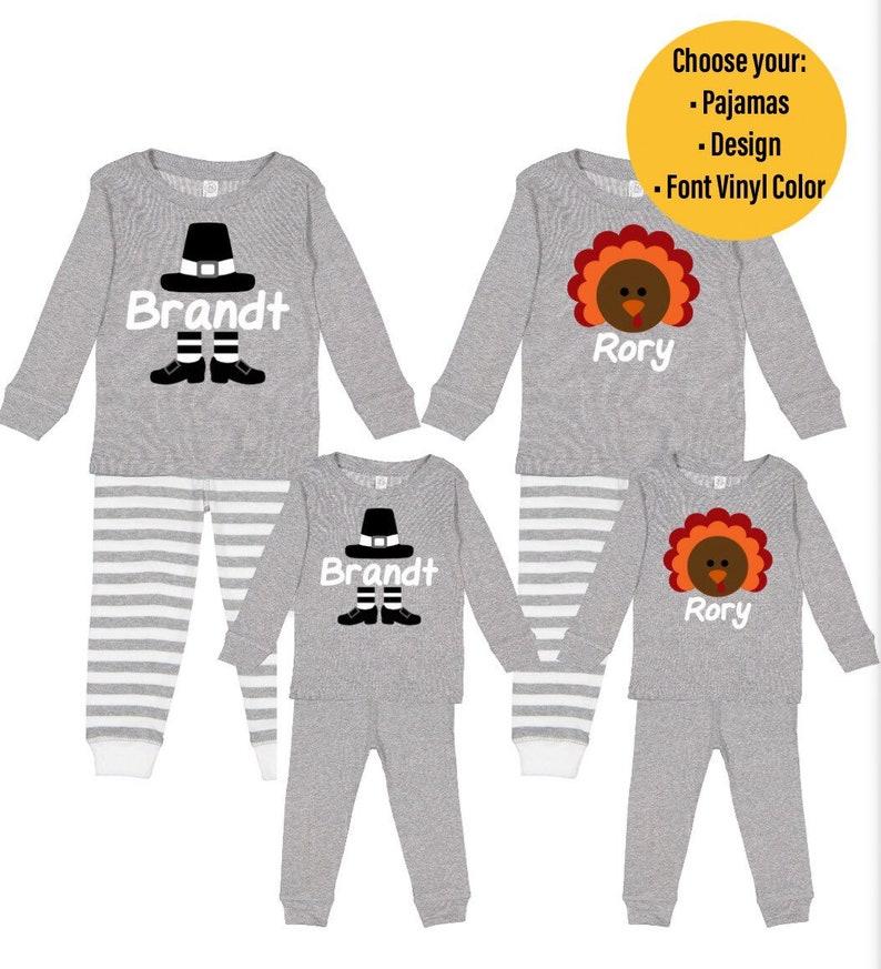 Personalized Monogram Infant /& Toddler Thanksgiving Pajamas Personalized Turkey and Pilgrim Thanksgiving Pajamas Sibling Matching Pajamas
