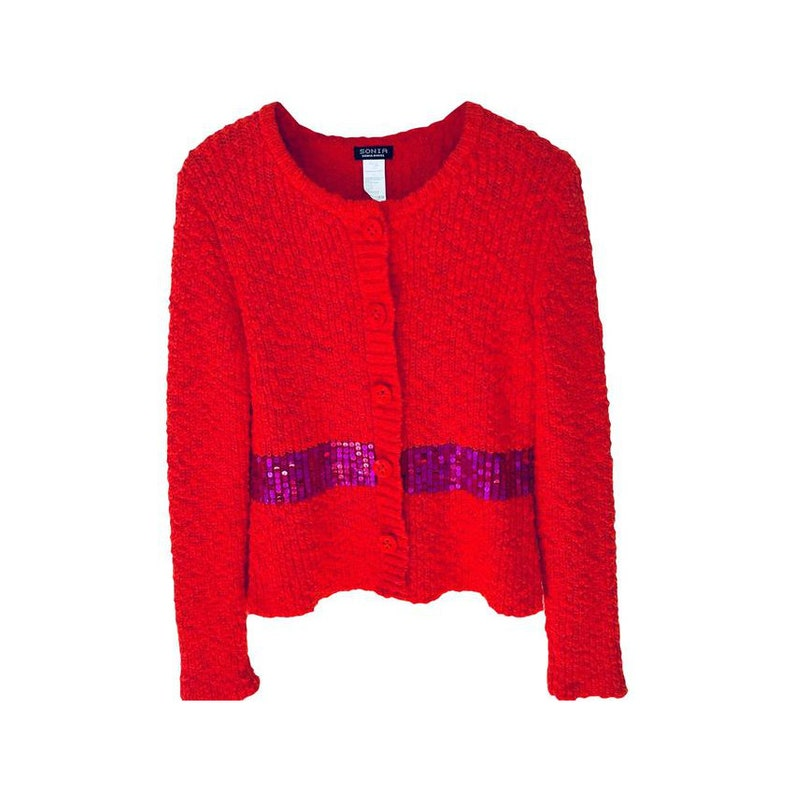 Sonia Rykiel Red Cardigan with Purple Sequin Band Detail Sz L