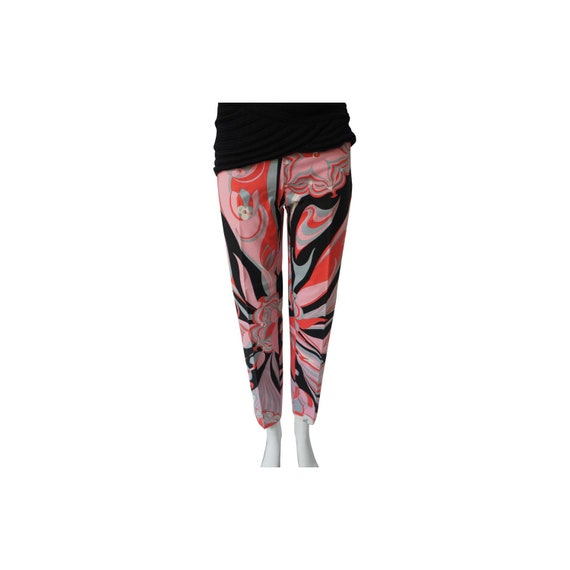 Emilio Pucci Black Grey Pink White Cotton Abstract