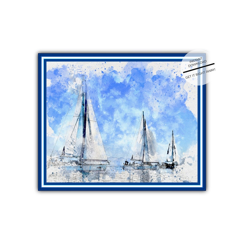 photo regarding Sailboat Printable called Watercolor Sailboat Printable Wall Artwork-Blue H2o 3 Sailboats Watercolor Electronic Down load-Sailing Poster