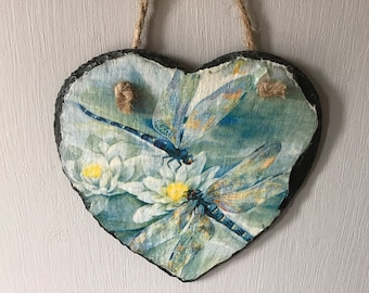 Hanging Slate Decoupaged Heart Dragonflies