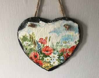 Hanging Slate decoupaged Heart Floral Meadow