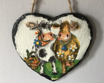 Hanging Slate Decoupaged Heart comical cows