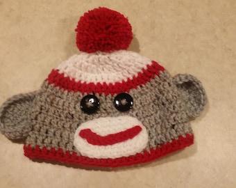 Sockeye monkey red 3-6 month hat