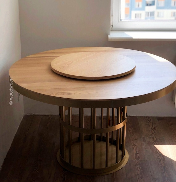 Round Dining Table Dinner Table Ash Table Top Gold Metal Etsy