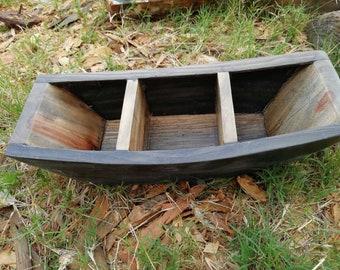 handmade vintage old fishing boat firm wood creative home garden decor boat-shape design flower pot plant holder