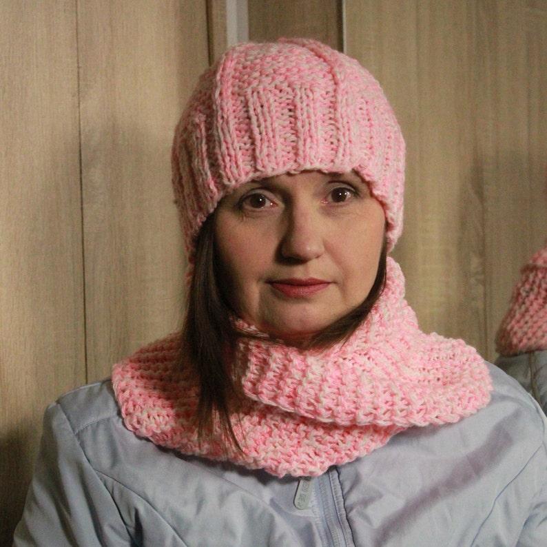 Wool Infinity Scarf Hat Knit Set Hand Boho Chunky Knit Melange Etsy