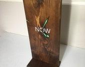 Beautiful handmade minimalist oak white freestanding NOW mantle clock