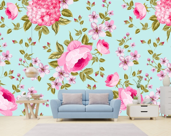 Pink Flowers Removable Wallpaper Mural Floral Peel Stick Or Pre Pasted Wallpaper Self Adhesive Easy To Apply