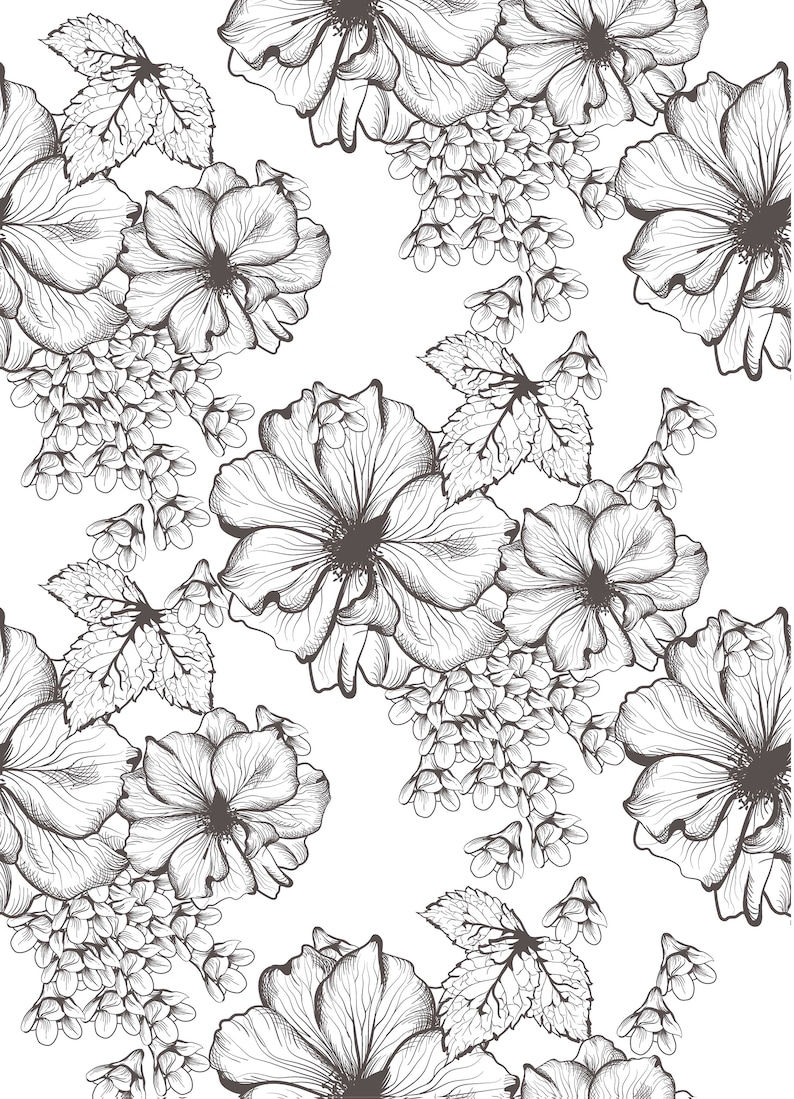 Easy to Apply Floral Peel /& Stick or Pre-Pasted Wallpaper Self Adhesive Removable Wallpaper Mural
