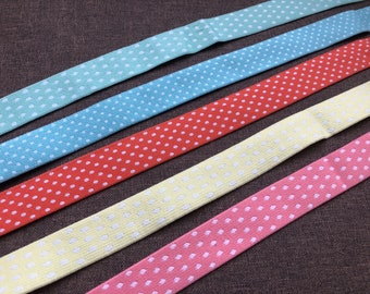 Black with White Polka Dot Print 5 or 100 Wholesale Yards Fold Over Elastic CLEARANCE