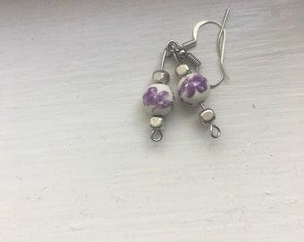 Purple China Earrings