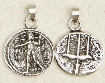 Poseidon pendant etsy poseidon olympian god 2 sided pewter greek silver coins pendant jewelry aloadofball Choice Image