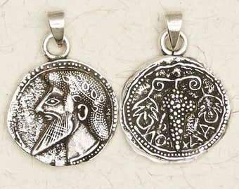 Dionysus Olympian-Pewter-Greek-Roman-Silver-Pagan-Wine-God-Pendant-Jewelry