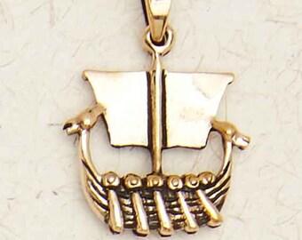 Norse Viking Ship-Bronze Medieval Pendant