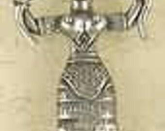 Minoan Snake Goddess-Pewter-Pagan-Greek-Silver-Pendant-Jewelry