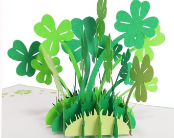 Clover Pop up Card All Occasion 3D Birthday Card Blank Greeting Card Graduation Father's Day St. Patrick's Day 4 Leaf Clover Invitation