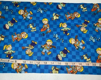 """Rare Bob The Builder Wendy Blue Gingham Fabric 11""""L By 44""""W Last Piece"""
