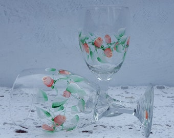 Hand Painted Water/Wine Goblets - Peach Roses