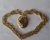 Large Locket with Victorian Revival Chain by 1928 Jewerly Co