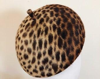 cc40bc9de531 Leopard Print Rabbit Fur Felt Beret Made From Vintage Block Animal Print  Hand Made Melazines Winter Hat by YUAN LI LONDON Millinery