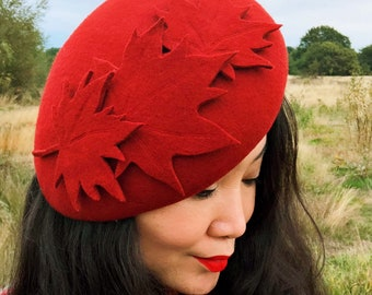 Autumn Leaves Beret Rusty Red Maple leaves Hand Mad Winter Wool Felt Hat by  YUAN LI LONDON Millinery 8943f84ccf55