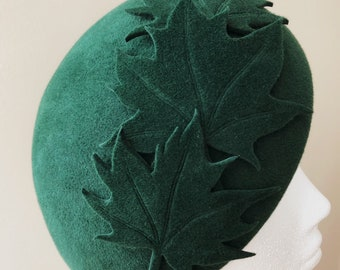 8f137e2a58ed Autumn Leaves Beret Forest Green Maple leaves Hand Mad Winter Wool Felt Hat  by YUAN LI LONDON Millinery