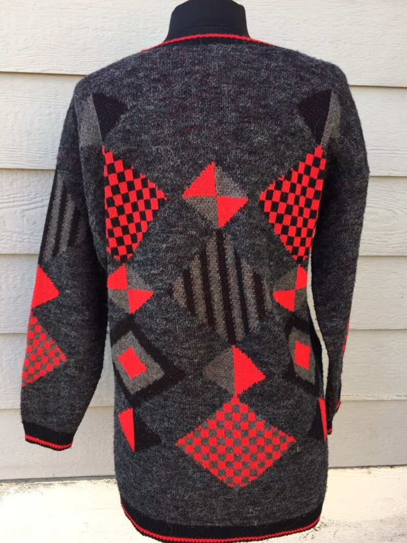 80s Geometric College Point Sweater Large Oversized Pullover