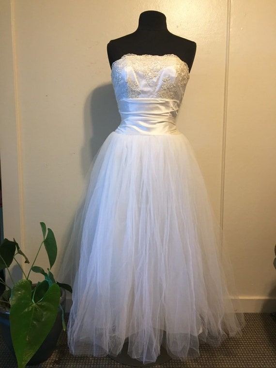 Gunne Sax Strapless Wedding Party Dress Small Tull