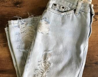 Distressed denim midi skirt size 0