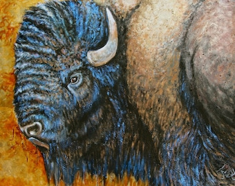 Western Wildlife Buffalo Bison Painting
