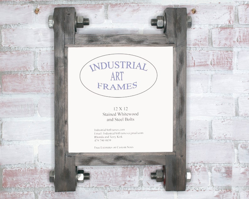 Industrial Home Decor 12 x 12 Industrial Style Art Frame Mancave Decor Solid WoodPicture Frame