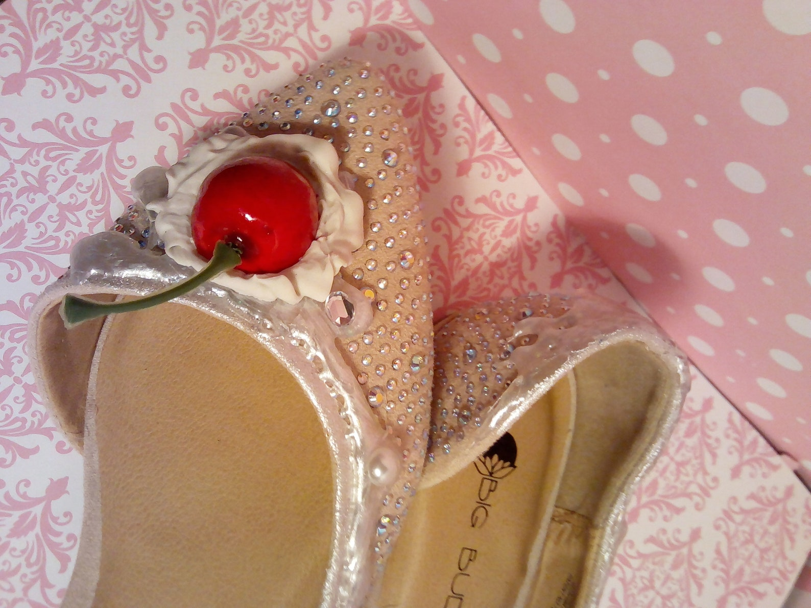 ice cream shoes champagne pearl swarovski crystal ballet flats,cake shoes,dessert shoes,women's shoes,girl's shoes,flat