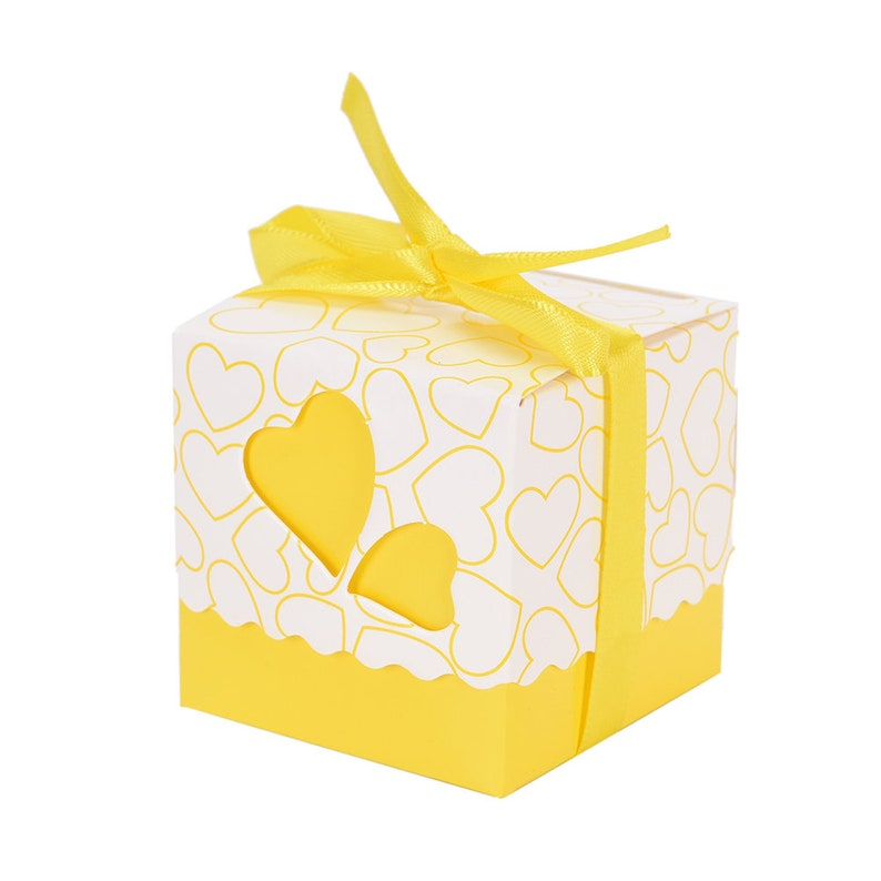 5 Laser Cut Heart Party Favor Boxes Yellow Heart Wedding Party Candy Box Love Wedding Decorations Bridal Baby Shower Bachelorette Birthday