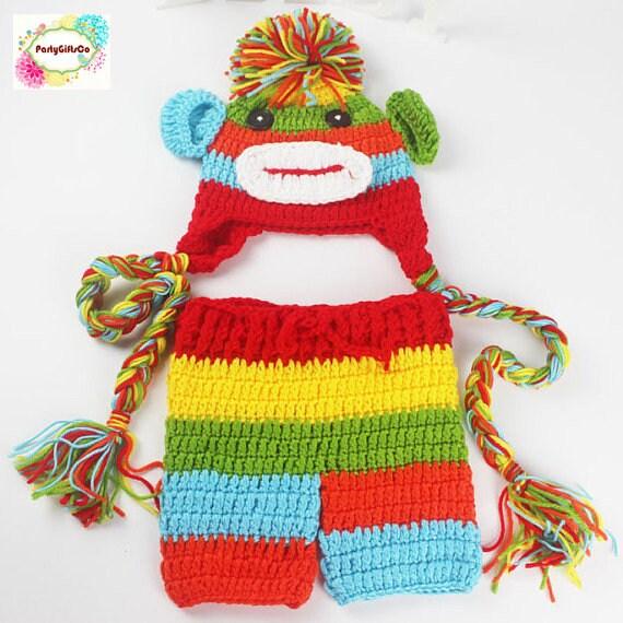 c9495ae8fba Newborn Crochet Monkey Costume Colorful Photography Prop