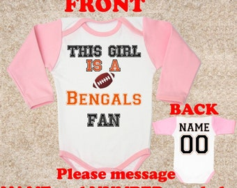 this girl Bengals logo fan customized personalized NAME NUMBER baby body  bodysuit clothing kids children toddler Baby girl Clothing Kid s d842cd975