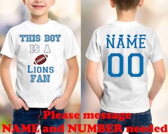 Lions NFL customized personalized NAME NUMBER t-shirt clothing kids shirt children toddler shirt national football league