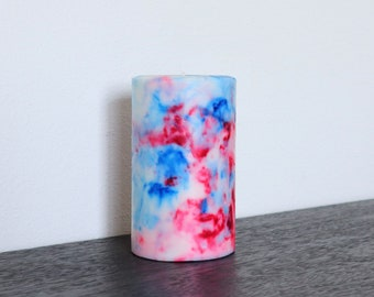 Red, White, and Blue Marbled Pillar Candle, Decorative Candle, Unity Candle, Independence Day, 4th of July, Fourth of July, July 4 Decor