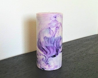 Purple Marbled Pillar Candle, Decorative Candle, Choose Dragon's Blood Scent or Lavender Fragrance, Swirled Design, Tie-Dye Decor