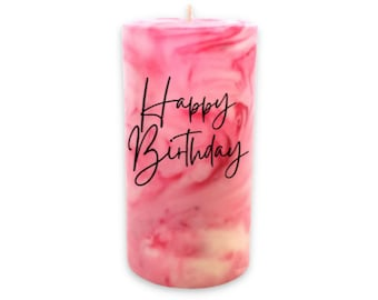 Custom Marbled Pillar Candle with Special Message, Personalized Birthday Gift, Housewarming, Just Because Gift For Her, Swirled Candle