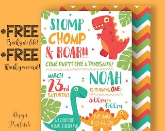 Dinosaur Invitation Baby Birthday Invites Personalized Digital