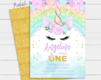Rainbow Unicorn Invitation Instant Download Personalized 1st Birthday Floral Pink