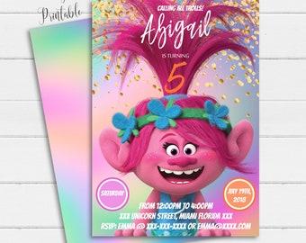 Trolls Invitation Birthday Instant Download Poppy Troll Party Printable Girl Printables