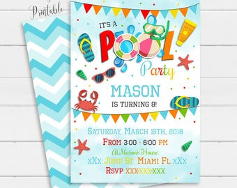 beach party invite etsy