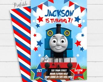 Thomas Train Invitation Birthday Printable Party Invite Personalized Boy Digital