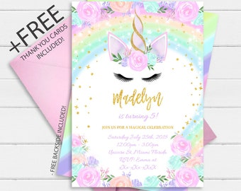 Rainbow Unicorn Invitation Instant Download Floral Birthday Magical Glitter Digital Invite