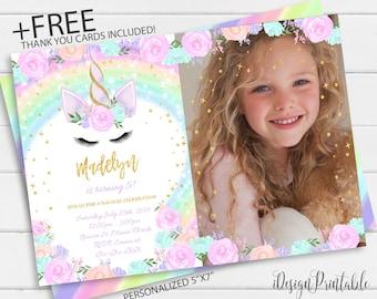 Unicorn Birthday Invitation Magical Invite Rainbow With Photo Pink Gold Glitter Girl File